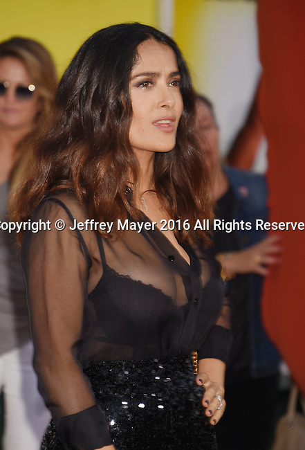 WESTWOOD, CA - AUGUST 09: Actress Salma Hayek arrives at the Premiere Of Sony's 'Sausage Party' at Regency Village Theatre on August 9, 2016 in Westwood, California.