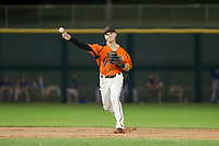AZL Giants shortstop Nico Giarratano (9) makes a throw to first base against the AZL Rangers on September 4, 2017 at Scottsdale Stadium in Scottsdale, Arizona. AZL Giants defeated the AZL Rangers 6-5 to advance to the Arizona League Championship Series. (Zachary Lucy/Four Seam Images)