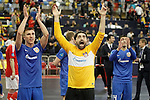 Ugra Yugorsk's Ivan Chishkala (l) and Zviad Kupatadze celebrate the victory in the UEFA Futsal Cup 2015/2016 Semifinal match. April 22,2016. (ALTERPHOTOS/Acero)