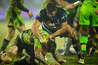 Bath Rugby's Nathan Catt gets to grips with Northampton Saints' Teimana Harrison<br /> <br /> Photographer Bob Bradford/CameraSport<br /> <br /> Anglo-Welsh Cup Semi Final - Bath Rugby v  Northampton Saints - Friday 9th March 2018 - The Recreation Ground - Bath<br /> <br /> World Copyright &copy; 2018 CameraSport. All rights reserved. 43 Linden Ave. Countesthorpe. Leicester. England. LE8 5PG - Tel: +44 (0) 116 277 4147 - admin@camerasport.com - www.camerasport.com