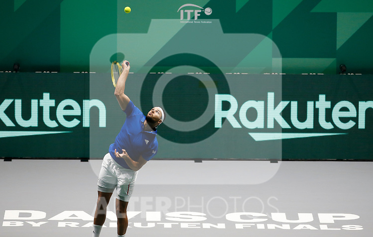 Jo-Wilfried Tsonga of France serves against Jo-Wilfried Tsonga of France during Day 2 of the 2019 Davis Cup at La Caja Magica on November 19, 2019 in Madrid, Spain. (ALTERPHOTOS/Manu R.B.)