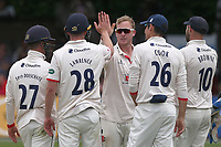 Simon Harmer of Essex celebrates with his team mates after taking the wicket of Keshav Maharaj during Essex CCC vs Yorkshire CCC, Specsavers County Championship Division 1 Cricket at The Cloudfm County Ground on 7th July 2019