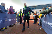 Borja Baston of Swansea City arrives prior to the game during the Sky Bet Championship match between Swansea City and Cardiff City at the Liberty Stadium, Swansea, Wales, UK. Sunday 27 October 2019