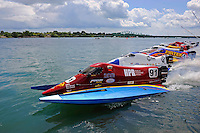 26  July, 2009, Trenton, Michigan USA.Bobby Chaffin (#91) leads Mark Welch (#95) and Howie Nichols (#4) off the dock..©2009 F.Peirce Williams USA.SST-120 class