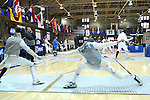 i11 February 2017: Duke's Jan Maceczek (right) attacks Boston College's Daniel Graap (left) during Foil. The Duke University Blue Devils hosted the Boston College Eagles at Card Gym in Durham, North Carolina in a 2017 College Men's Fencing match. Duke won the dual match 18-9 overall, 9-0 Foil, and 6-3 Saber. Boston College won Epee 6-3.