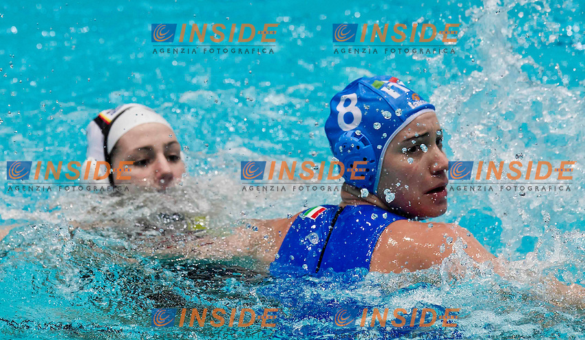 Eindhoven , Netherlands (NED) 16 - 29 January 2012.LEN European  Water Polo Championships 2012.Day 07 - Women.Germany (White) - Italia (Blue)..ITA.8 BIANCONI Roberta..Photo Insidefoto / Giorgio Scala