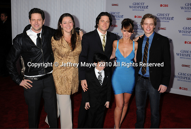 """WEST HOLLYWOOD, CA. - March 01: Jamie Kennedy, Camryn Manheim, Connor Gibbs, David Conrad, Jennifer Love Hewitt, and Chritoph Sanders arrive to the """"Ghost Whisperer"""" 100th Episode Celebration at XIV on March 1, 2010 in West Hollywood, California."""