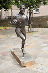 Statue of local hero rugby player, Ken Jones,  Blaenavon, Torfaen, Monmouthshire, South Wales, UK