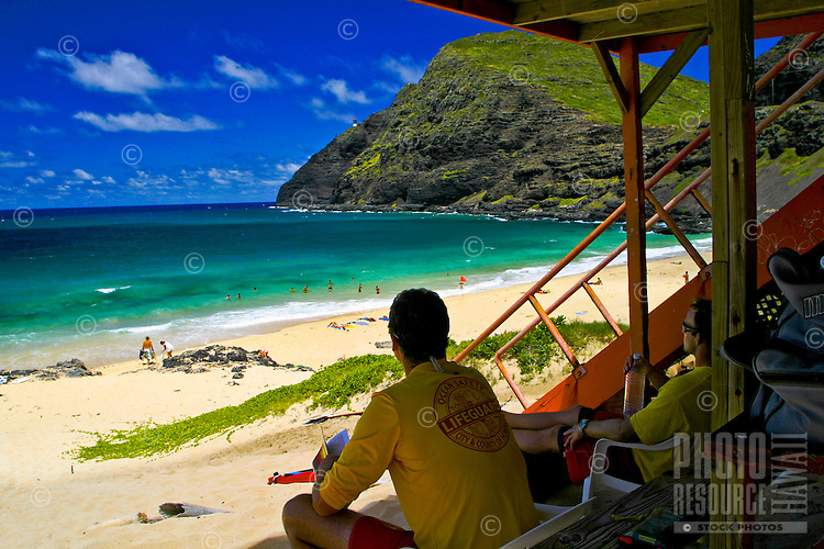 Lifegaurds keep a close lookout for the health and wellbeing of swimmers in distress at Makapuu Beach along the east coast of Oahu.