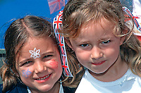 Schoolchildren celebrating the Queens Golden Jubilee 2002. This image may only be used to portray the subject in a positive manner..©shoutpictures.com..john@shoutpictures.com