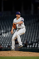 Jacksonville Jumbo Shrimp relief pitcher Brett Graves (24) during a Southern League game against the Mobile BayBears on May 28, 2019 at Baseball Grounds of Jacksonville in Jacksonville, Florida.  Mobile defeated Jacksonville 2-1.  (Mike Janes/Four Seam Images)