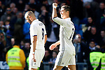 Real Madrid's Karim Benzema and Cristiano Ronaldo celebrate goal during La Liga match. January 7,2016. (ALTERPHOTOS/Acero)