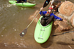 April 30, 2012. Charlotte, NC.. After taking a run on one of the USNWC whitewater courses, Erik Weihenmayer gets out of his boat to start from the top again.. Erik Weihenmayer, who has been completely blind since age 13, is training at the United States National White Water Center in an attempt to kayak through the Grand Canyon. Weihenmayer is an accomplished outdoorsman who has climbed the 7 Summits, and is the only blind person to climb Mount Everest.