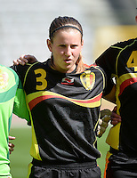20140407 - BRUSSELS , BELGIUM : Belgian Chloe Van Mingeroet pictured during the female soccer match between CZECH REPUBLIC U19 and BELGIUM U19 , in the second game of the Elite round in group 4 in the UEFA European Women's Under 19 competition 2014 in the Koning Boudewijn Stadion , Monday 7 April 2014 in Brussels . PHOTO DAVID CATRY
