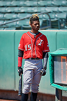 Raimel Tapia (15) of the  Albuquerque Isotopes before the game against the Salt Lake Bees at Smith's Ballpark on April 22, 2018 in Salt Lake City, Utah. The Bees defeated the Isotopes 11-9. (Stephen Smith/Four Seam Images)