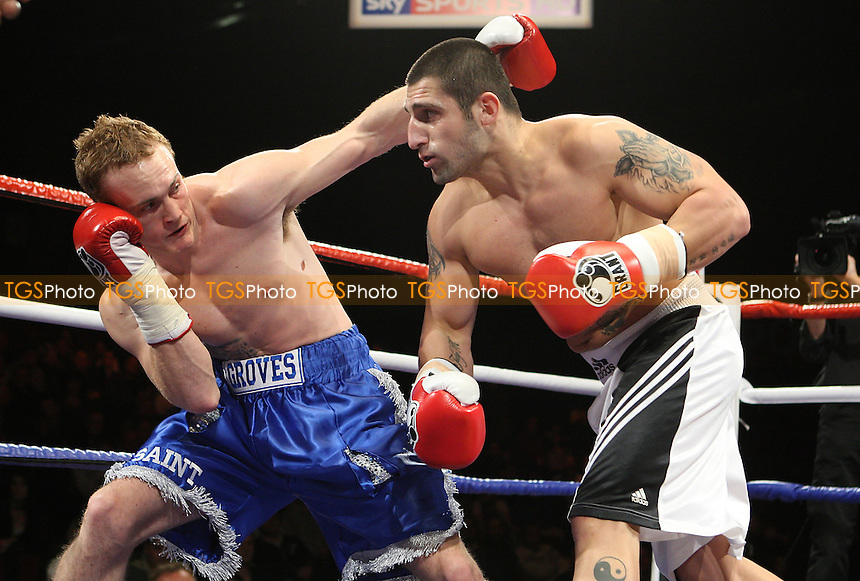 George Groves (blue shorts) defeats Grigor Sarohanian in a Super-Middleweight boxing contest at the Brentwood Centre, promoted by Frank Maloney - 22/01/10 - MANDATORY CREDIT: Gavin Ellis/TGSPHOTO - Self billing applies where appropriate - Tel: 0845 094 6026