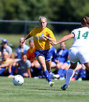 BROOKINGS, SD - SEPTEMBER 7:  Shelby Raper #4 from South Dakota State drives with the ball against Mari Wallestad #14 from Bemidji State in the first half of their game Sunday in Brookings. (Photo/Dave Eggen/Inertia)