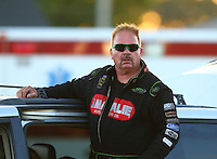 Sep 3, 2016; Clermont, IN, USA; NHRA top fuel driver Terry McMillen during qualifying for the US Nationals at Lucas Oil Raceway. Mandatory Credit: Mark J. Rebilas-USA TODAY Sports