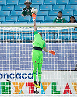 CHARLOTTE, NC - JUNE 23: Milan Borjan #18 makes a save during a game between Cuba and Canada at Bank of America Stadium on June 23, 2019 in Charlotte, North Carolina.