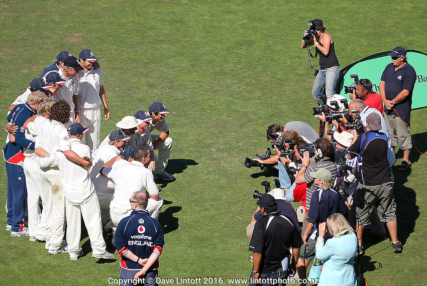 Photographers shoot the England team after the match. Day five of the National Bank Test Match Series third test between New Zealand Black Caps and England, 3rd Test at McLean Park in Napier, New Zealand on Wednesday, 26 March 2008. Photo: Dave Lintott / lintottphoto.co.nz