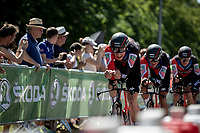 Stefan Kung (SUI/BMC) leading Greg Van Avermaet (BEL/BMC) to Yellow and the team to stage victory in their final km.<br /> <br /> Stage 3 (Team Time Trial): Cholet > Cholet (35km)<br /> <br /> 105th Tour de France 2018<br /> ©kramon