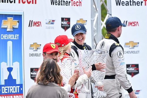 IMSA WeatherTech SportsCar Championship<br /> Chevrolet Sports Car Classic<br /> Detroit Belle Isle Grand Prix, Detroit, MI USA<br /> Saturday 3 June 2017<br /> 93, Acura, Acura NSX, GTD,  Katherine Legge, 63, Ferrari, Ferrari 488 GT3, GTD,  Christina Nielsen<br /> World Copyright: Richard Dole<br /> LAT Images<br /> ref: Digital Image RD_DTW_17_0403