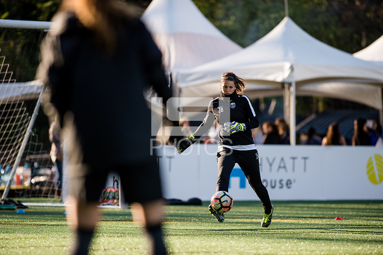 Seattle, WA - April 15th, 2017: Haley Kopmeyer warms up prior to a regular season National Women's Soccer League (NWSL) match between the Seattle Reign FC and Sky Blue FC at Memorial Stadium.