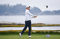 Nick Taylor (CAN) watches his tee shot on 18 during round 4 of the 2019 US Open, Pebble Beach Golf Links, Monterrey, California, USA. 6/16/2019.<br /> Picture: Golffile | Ken Murray<br /> <br /> All photo usage must carry mandatory copyright credit (© Golffile | Ken Murray)
