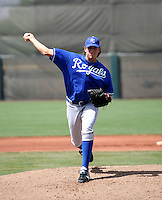May 10, 2008:  Kansas City Royals AA pitching prospect Daniel Cortes in action against the Giants during a rehabilitation assignment in extended spring training.