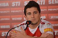 SAO PAULO, 10 DE JUNHO DE 2013 - TREINO SAO PAULO - O jogador Aloisio  durante coletiva de imprensa, no CT da Barra Funda, na tarde desta segunda feira, 10, região oeste da capital. (FOTO: ALEXANDRE MOREIRA / BRAZIL PHOTO PRESS)
