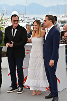 "CANNES, FRANCE. May 22, 2019: Quentin Tarantino, Margot Robbie & Leonardo DiCaprio at the photocall for ""Once Upon a Time in Hollywood"" at the 72nd Festival de Cannes.<br /> Picture: Paul Smith / Featureflash"