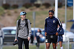 CARY, NC - APRIL 08: Former UNC teammates, North Carolina social media assistant Brittani Bartok (left) and the Courage's Jessica McDonald (right). The NWSL's North Carolina Courage played a preseason game against the University of North Carolina Tar Heels on April 8, 2017, at WakeMed Soccer Park Field 3 in Cary, NC. The Courage won the match 1-0.