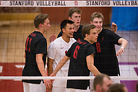 STANFORD, CA - January 2, 2018: Eli Wopat, Evan Enriques, Russell Dervay, Leo Henken at Burnham Pavilion. The Stanford Cardinal defeated the Calgary Dinos 3-1.