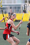 Santa Barbara, CA 02/18/12 - Lisa Riondet (Georgia #8) in action during the Georgia-Michigan matchup at the 2012 Santa Barbara Shootout.  Georgia defeated Michigan 12-10.