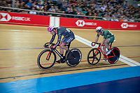25th January 2020; National Cycling Centre, Manchester, Lancashire, England; HSBC British Cycling Track Championships; Will Perrett leads Rhys Britton as they push to gain a lap on the field in the Men's 30km points race