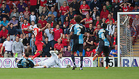 Jay Simpson of Leyton Orient scores his goal during the Sky Bet League 2 match between Leyton Orient and Wycombe Wanderers at the Matchroom Stadium, London, England on 19 September 2015. Photo by Andy Rowland.