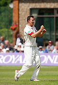 June 12th 2017, Trafalgar Road Ground, Southport, England; Specsavers County Championship Division One; Day Four; Lancashire versus Middlesex; Ryan McLaren of Lancashire celebrates after taking his second wicket of the day, Dawid Malan caughht behind by Alex Davies for 52; Middlesex were 27 runs ahead at the start of the day with four second innings wickets remaining