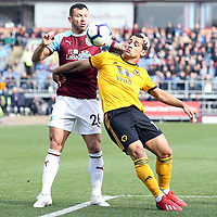 Wolverhampton Wanderers' Jonny shields the ball from Burnley's Phillip Bardsley<br /> <br /> Photographer Rich Linley/CameraSport<br /> <br /> The Premier League - Burnley v Wolverhampton Wanderers - Saturday 30th March 2019 - Turf Moor - Burnley<br /> <br /> World Copyright © 2019 CameraSport. All rights reserved. 43 Linden Ave. Countesthorpe. Leicester. England. LE8 5PG - Tel: +44 (0) 116 277 4147 - admin@camerasport.com - www.camerasport.com