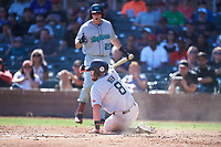 Salt River Rafters Seth Beer (8), of the Arizona Diamondbacks organization, slides across home plate during the Arizona Fall League Championship Game against the Surprise Saguaros on October 26, 2019 at Salt River Fields at Talking Stick in Scottsdale, Arizona. The Rafters defeated the Saguaros 5-1. (Zachary Lucy/Four Seam Images)
