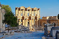 Picture of The library of Celsus. Images of the Roman ruins of Ephasus, Turkey images . Stock Picture & Photo art prints