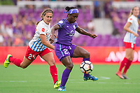 Orlando, FL - Saturday August 05, 2017: Danielle Colaprico, Jasmyne Spencer during a regular season National Women's Soccer League (NWSL) match between the Orlando Pride and the Chicago Red Stars at Orlando City Stadium.