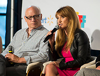 """NWA Democrat-Gazette/JASON IVESTER<br /> Actor Joey Travolta listens as actress Jane Seymour speaks Wednesday, May 3, 2017, during a panel called """"Lights! Camera! Inclusion!"""" at the Record in Bentonville as part of the Bentonville Film Festival."""
