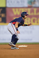 Juan Yepez (2) of the Rome Braves takes his lead off of second base against the Hickory Crawdads at L.P. Frans Stadium on May 12, 2016 in Hickory, North Carolina.  The Braves defeated the Crawdads 3-0.  (Brian Westerholt/Four Seam Images)