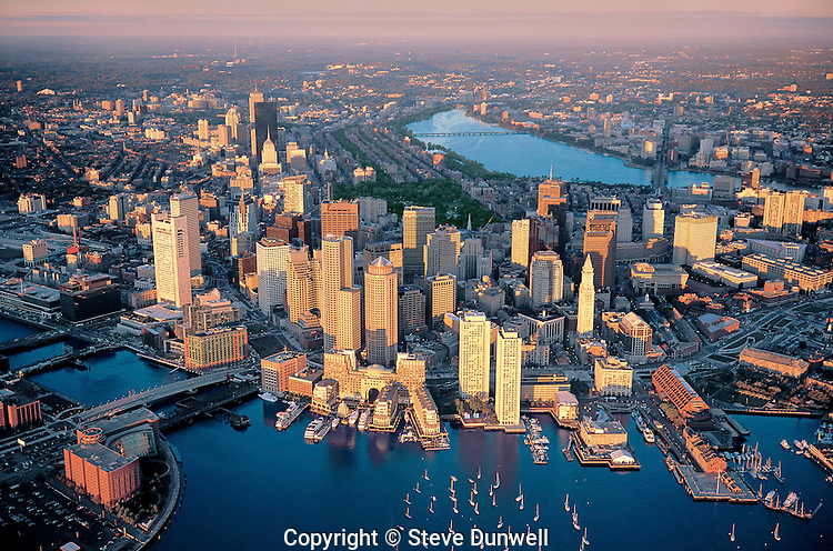 Sunrise aerial  harbor view, Boston, MA  Oct, 2007 for CBRE duratrans
