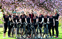 Picture by SWpix.com 08/05/2018 - Cycling FLAB Fat Lass at The Back press shoot - Harrogate,Yorkshire<br /> Emmerdale actress Charlotte Bellamy and her Harrogate cycling group pictured with Richard Bye - of Fat Lad at The Back