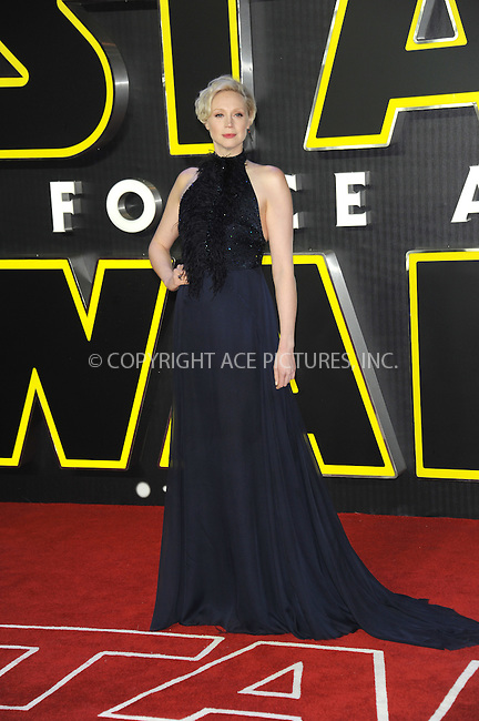 WWW.ACEPIXS.COM<br /> <br /> December 16 2015, London<br /> <br /> Gwendoline Christie arriving at the European Premiere of 'Star Wars: The Force Awakens' in Leicester Square on December 16, 2015 in London, England.<br /> <br /> By Line: Famous/ACE Pictures<br /> <br /> <br /> ACE Pictures, Inc.<br /> tel: 646 769 0430<br /> Email: info@acepixs.com<br /> www.acepixs.com