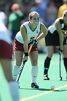 Stanford, CA - SEPTEMBER 27:  Midfielder Xanthe Travlos #9 of the Stanford Cardinal during Stanford's 7-0 win against the Pacific Tigers on September 27, 2008 at the Varsity Field Hockey Turf in Stanford, California.