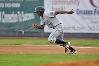 Wynton Bernard #36 of the West Michigan Whitecaps heads to second base against the Clinton LumberKings at Ashford University Field on July  25, 2014 in Clinton, Iowa. The Whitecaps won 9-0.   (Dennis Hubbard/Four Seam Images)