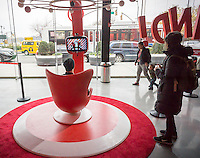 "A visitor talks to Santa in the Target ""Wonderland!"" pop-up store in the Meatpacking District in New York on its grand opening day, Wednesday, December 9, 2015. According to Target the store combines physical and digital shopping using medallions given to visitors with an embedded RFID chip. Tapping the chip to an antenna near the product lets you order it. The store is an experiment in technology replacing shopping carts with chips.  (© Richard B. Levine)"