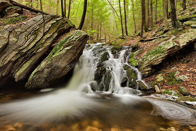 A small waterfall along the M-M Trail in Holland Glen, Belchertown, Massachuseets.